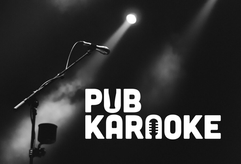 Dark room with Microphone and Pub Karaoke Logo
