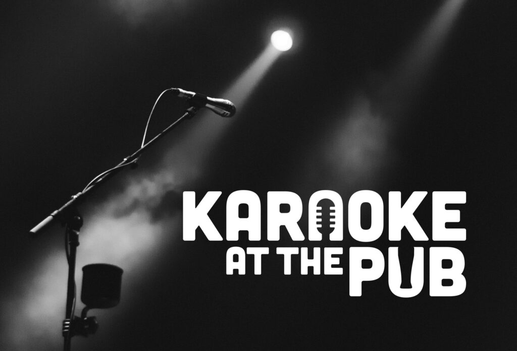 Dark room with Microphone and Karaoke at the Pub Logo