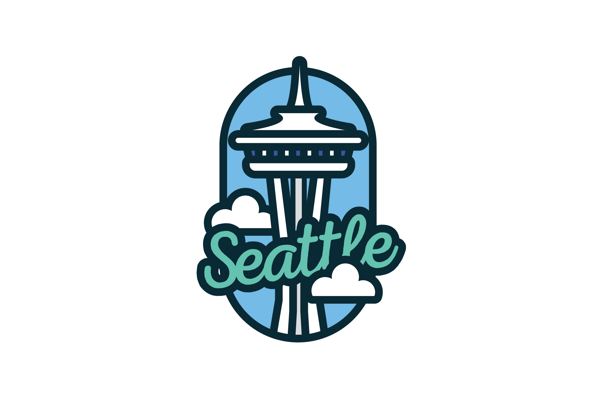 Seattle Travel Patch Illustration
